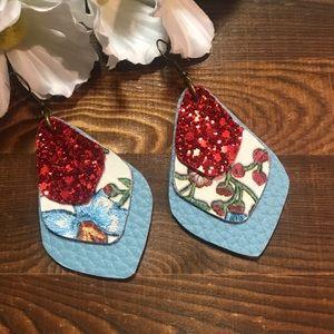 Faux Leather Earrings Blue Red Floral Teardrop